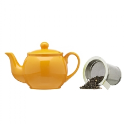 Porcelain teapot (500 cc) with s/steel lid and strainer Orange Tangerine