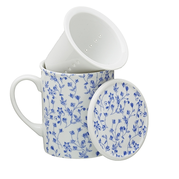 White Porcelain Blue flowers herb tea mug with porcelain infuser 0,2l