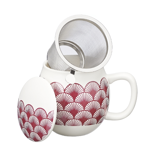 Ventagli Camilla Tea mug with lid and stainless steel infuser, 0,35 lt, Honeysuckle pink