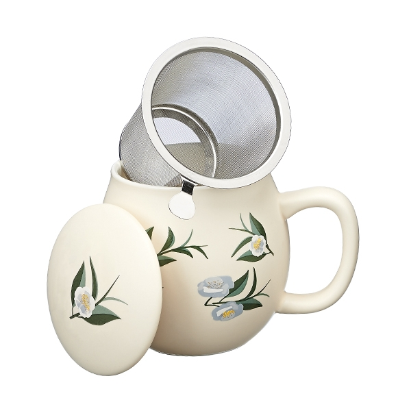 Ventagli Camilla Tea mug with lid and stainless steel infuser, 0,35 lt, Matt Ivory