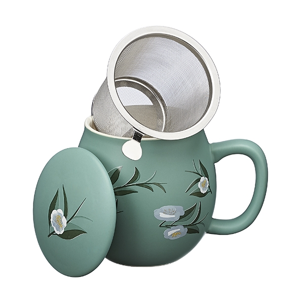 Camelia Camilla Tea mug with lid and stainless steel infuser, 0,35 lt, Matt Celadon Green